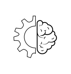 brain human with gear creative icon vector image