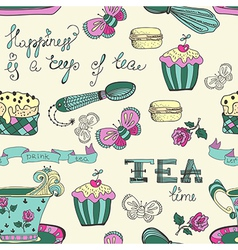 Color tea time pattern vector image