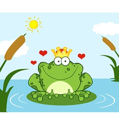 Crowned Frog Prince On A Leaf In Lake vector image vector image