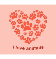 Heart animals footprints vector image vector image
