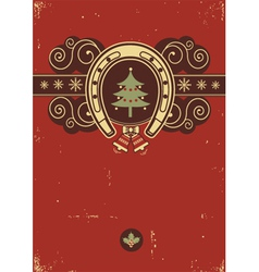 Red Christmas background with horseshoe vector image vector image