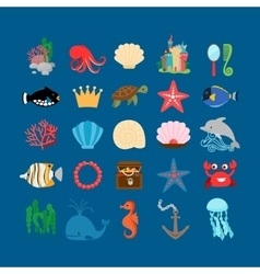 Underwater life and ocean animals vector image vector image