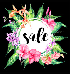 vintage floral tropical sale card vector image vector image
