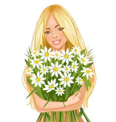 Young beautiful blond woman with bunch of flowers vector image vector image