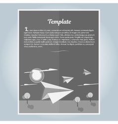 Black and white booklet paper airplane vector image