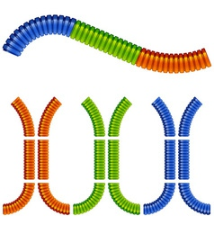 colored corrugated flexible tubes vector image vector image