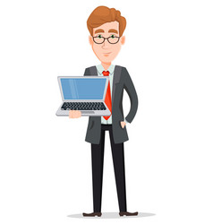 handsome businessman in suit and glasses holding vector image