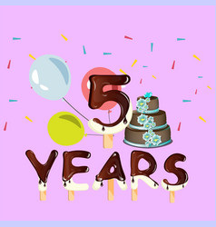 happy birthday five 5 year design with number vector image vector image