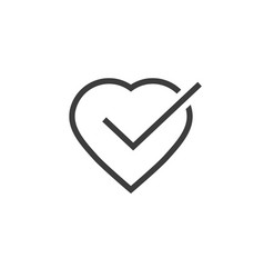 heart tick icon line outline vector image vector image