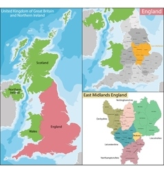 Map of East Midlands England vector image vector image