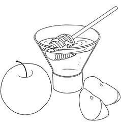Rosh Hashanah Honey With Apples Coloring Page vector image vector image