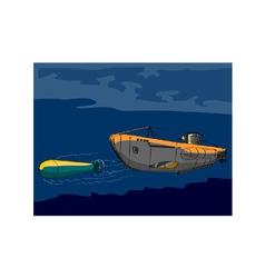 Submarine Boat Retro vector image