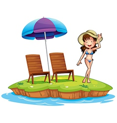 An island with a young girl swimming vector image vector image