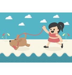 Cartoon Businesswoman happy summer vector image