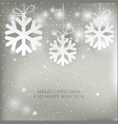 christmas background with shining white and silver vector image vector image