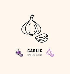garlic icon vegetables logo spice thin line art vector image vector image