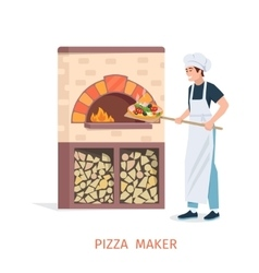 Cooking pizza vector image