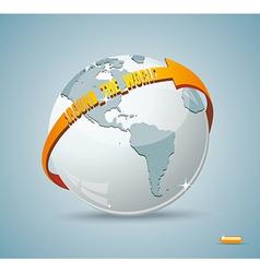 Globe design with around the world arrow vector image vector image