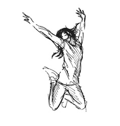 Hand sketch leaping woman vector image