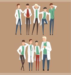 hospital medical staff doctors team flat men vector image