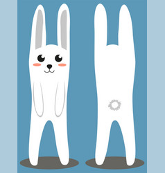 white rabbit colorful poster vector image vector image