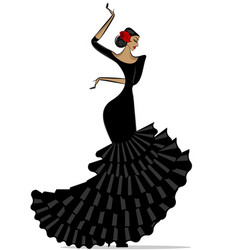 abstract flamenro girl in black vector image