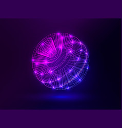 abstract glowing sphere bright pink and blue vector image
