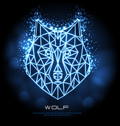 abstract polygonal tirangle animal wolf neon sign vector image