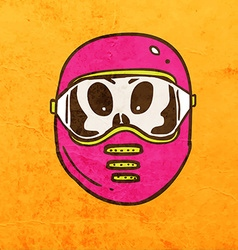 Alien in safety mask cartoon vector
