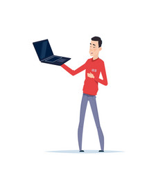 Asian man holding modern laptop computer isolated vector