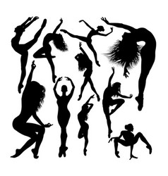 attractive female ballet dancer silhouettes vector image