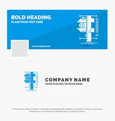 Blue business logo template for measure caliper vector