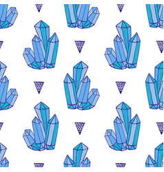 blue crystals seamless pattern minerals rocks vector image
