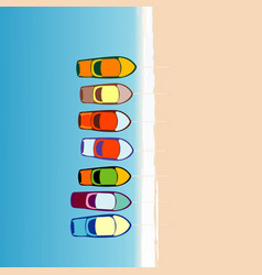 boats parking along the sand beach cartoon style vector image