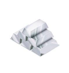 Bright pile five realistic glossy silver bars vector