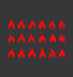 burning flames set collection vector image