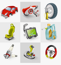 car accessories icon set vector image