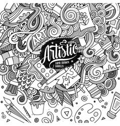 Cartoon cute Art doodles hand drawn frame vector image vector image