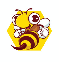 Cartoon happy bee with sharp stinger holding fists vector