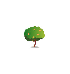 cartoon orange tree with isolated white vector image