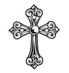 christian cross wing drawing blak vector image