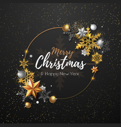 Christmas poster with golden snowflakes vector