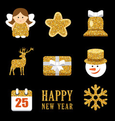 christmas set with gold sparkling elements vector image
