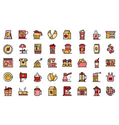 coffee shop icons set line color vector image