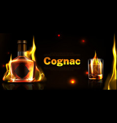 cognac in bottle and glass shot promo poster vector image