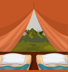 Colorful background interior camping tent with vector