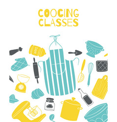 cooking classes poster with kitchenware and pots vector image