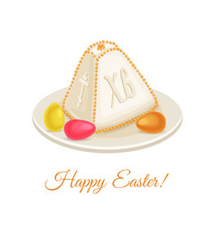 Cottage cheese dessert for orthodox easter vector