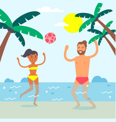 Couple on summer vacation people playing ball in vector