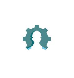creative gear worker contractor logo design vector image